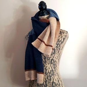 Winter Scarf Mixed Knit Tan & Blue